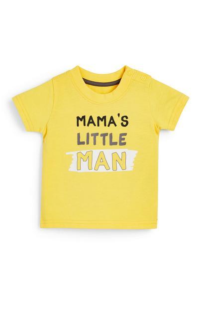 Camiseta amarilla con texto estampado para bebé niño