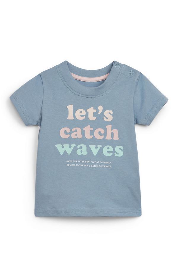Blauw T-shirt met surftekst voor baby's (jongens)