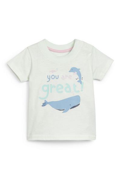 Camiseta blanca con texto estampado para bebé niño