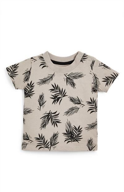 Camiseta gris con estampado de hojas para bebé niño
