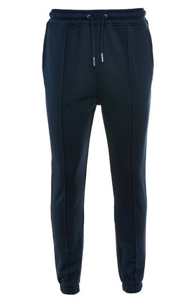 Pantalón de chándal premium azul marino de algodón con cordón de ajuste