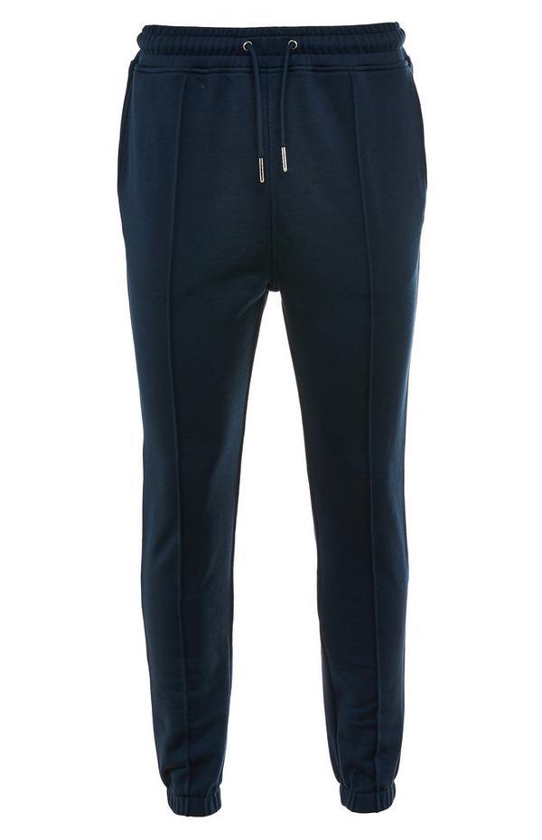 Premium donkerblauwe katoenen joggingbroek met trekkoord in taille