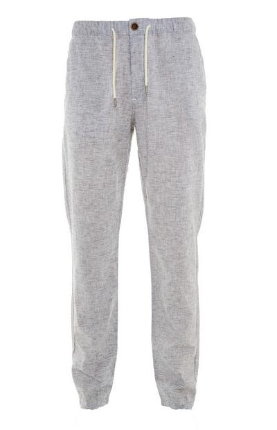 Grey Elasticated Waist Linen Trousers