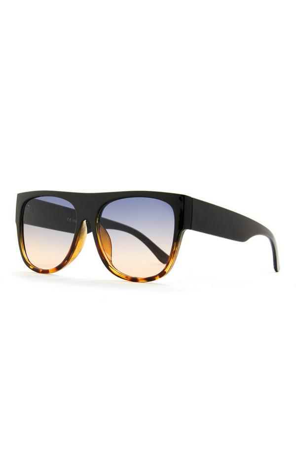 Črna sončna očala s kratkim ukrivljenim robom