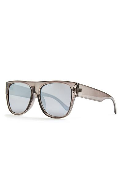 Silver Curved Sports Wrap Sunglasses