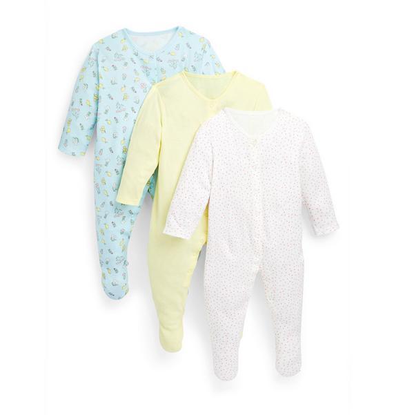 Zitronengelbe Schlafanzüge mit Print für Babys (M), 3er-Pack