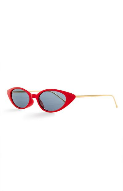 Red Metal Arm Cat Eye Sunglasses