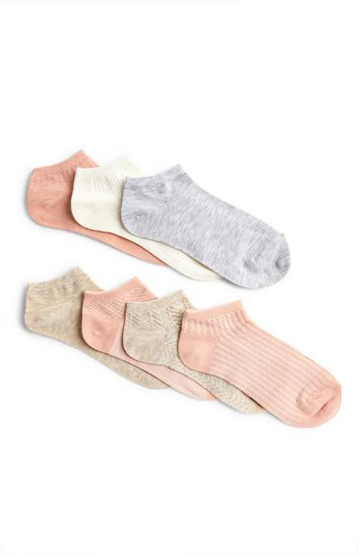 Muted Pastel Trainer Socks 7 Pack