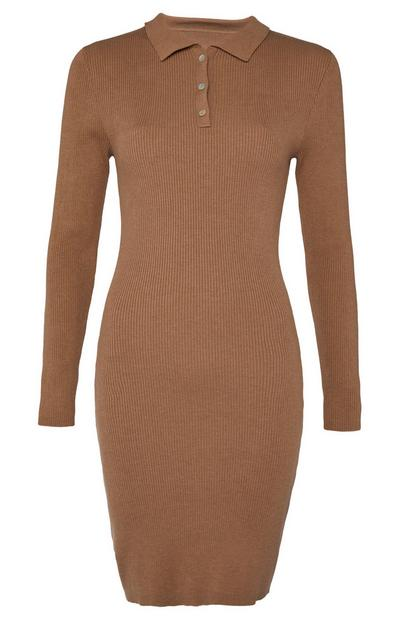 Camel Polo Open Neck Jumper Dress