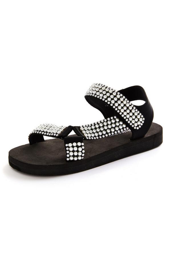 Black Faux Pearl Eva Sandals