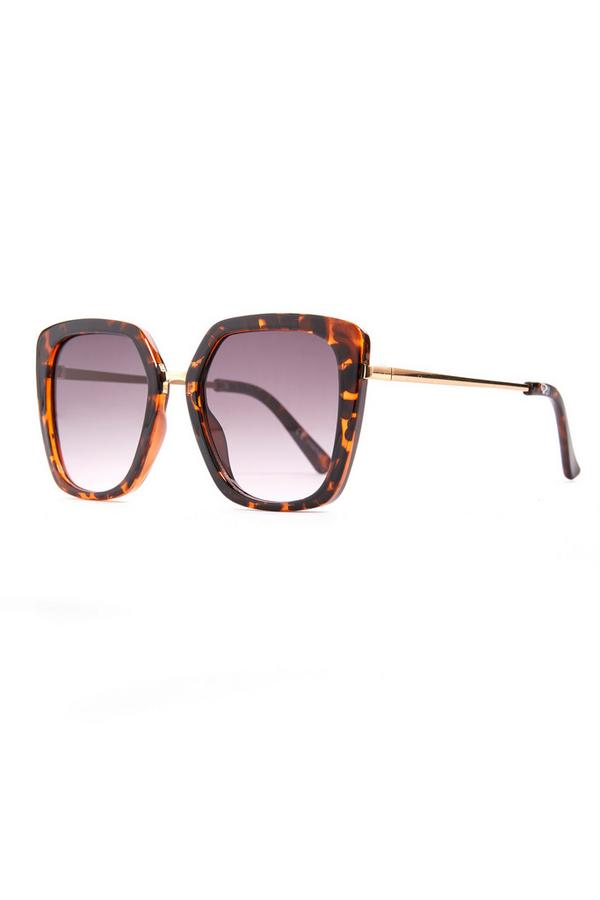 Faux Tortoiseshell Oversized Metal Arm Sunglasses