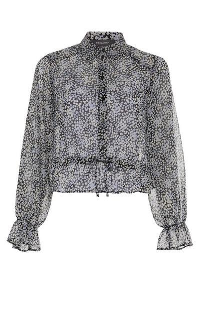 Black Print Drawcord Hem Shirt