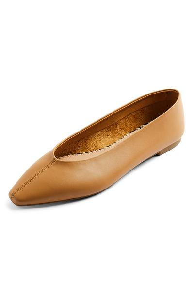 Tan Faux PU Leather High Vamp Flat Ballerina Shoes