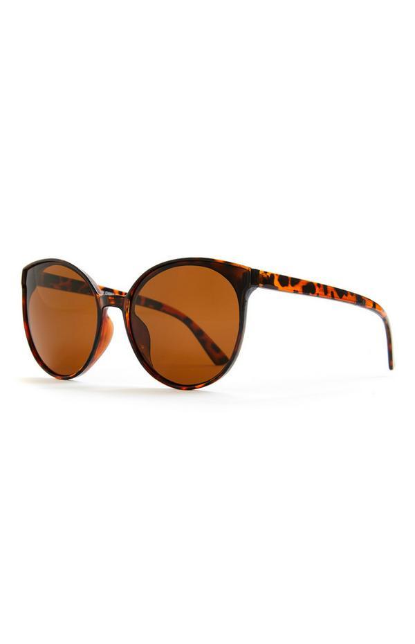 Bruingemêleerde cat-eye zonnebril met ronde glazen