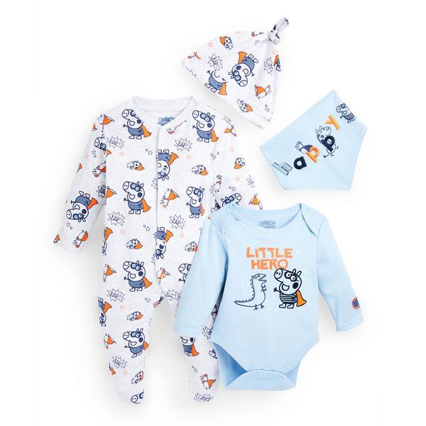 Newborn Baby Peppa Pig Print Starter Set 4 Piece