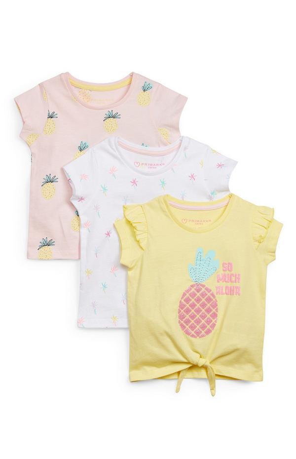 Baby Girl Fruit Print T-Shirt 3 Pack