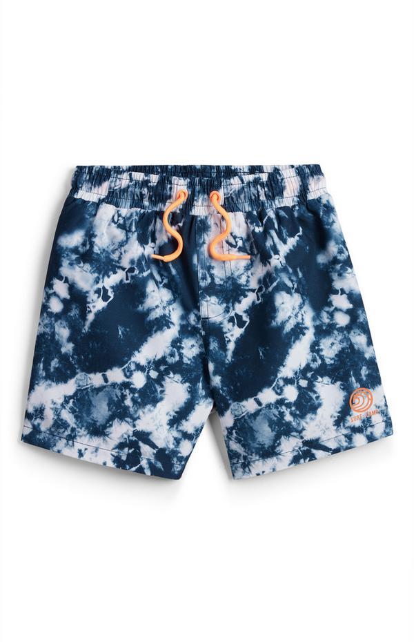 Younger Boy Navy Marble Print Swim Shorts