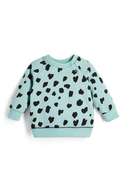 Baby Girl Blue Spot Pattern Crew Neck Sweater