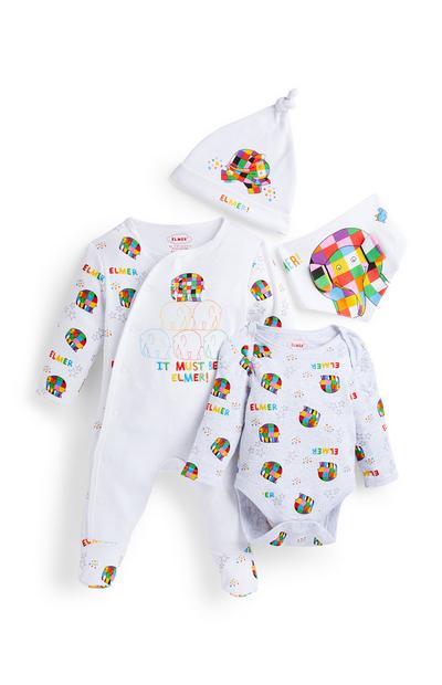 Newborn Baby White Elmer Starter Suit Set 4 Piece