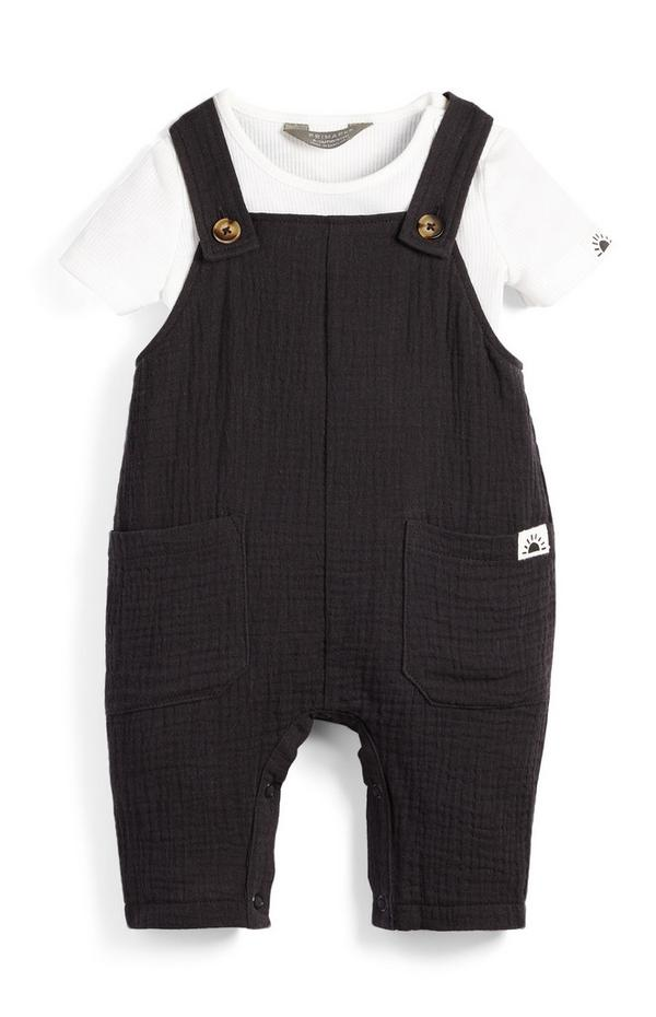 Baby Girl Monochrome T-Shirt And Dungarees Set