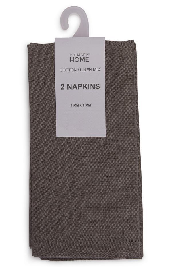 Bruine linnen servetten, set van 2