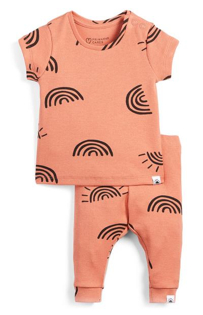 Baby Girl Peach Ribbed T-Shirt And Leggings Set
