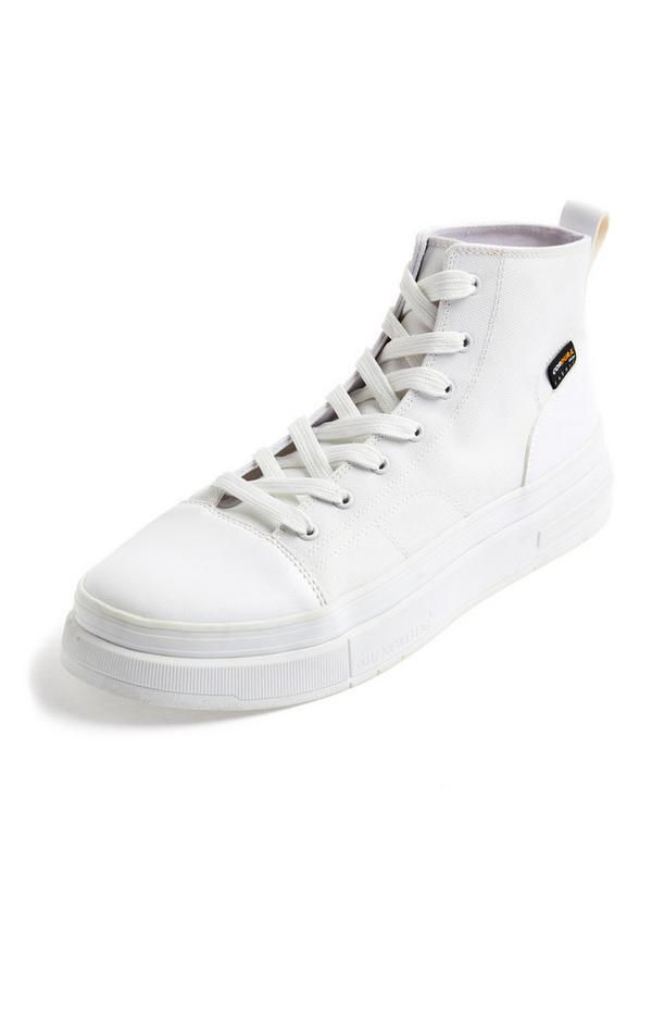 Premium White Cordura High Top Trainers