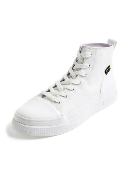 Premium White Cordura High Top Trainers