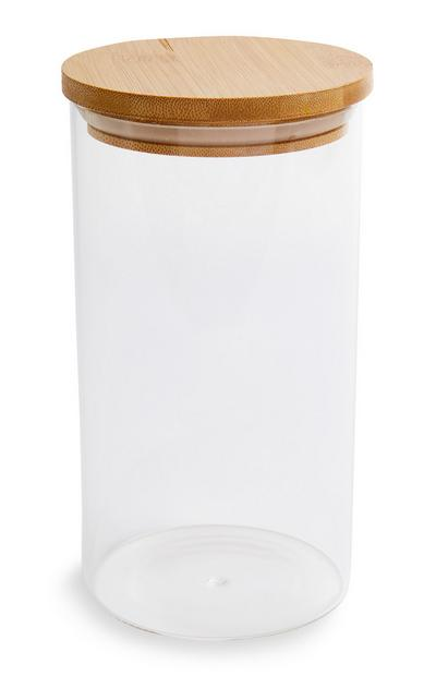 Large Glass Wooden Lid Cannister