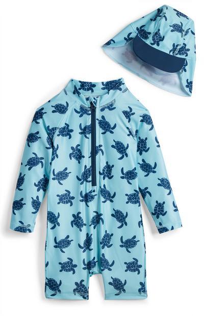Conjunto azul de 2 piezas con estampado de tortugas para bebé niño