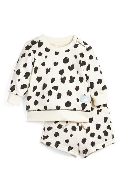 Baby Girl Ecru Print Crew Neck Sweater And Shorts Set