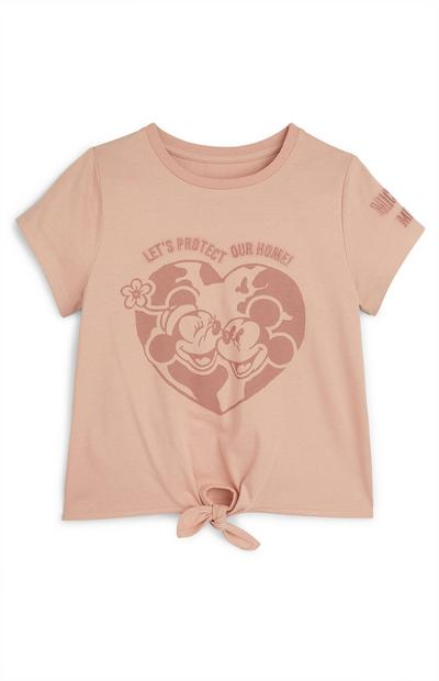 Roze T-shirt met knoop Primark Cares met Disney Mickey en Minnie Mouse Earth voor meisjes