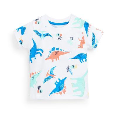 Baby Boy White Dinosaur Print T-Shirt