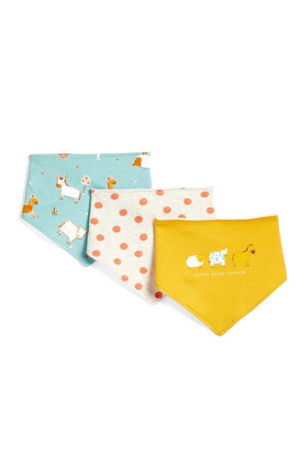 3 bandane da neonato con stampa animali da fattoria