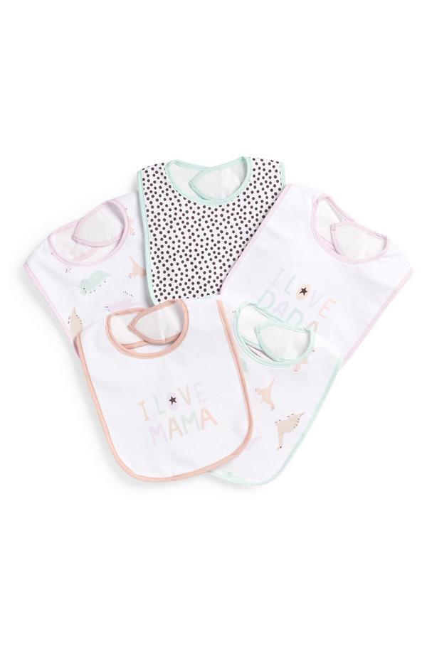 5 bavaglini in plastica da neonato