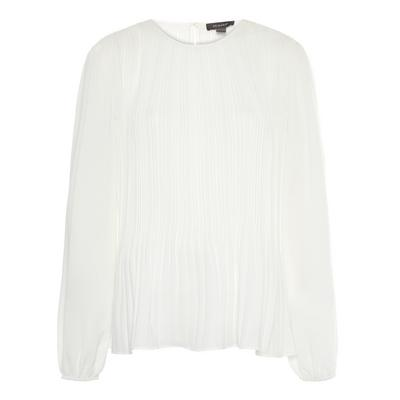 White Pleated Smock Blouse
