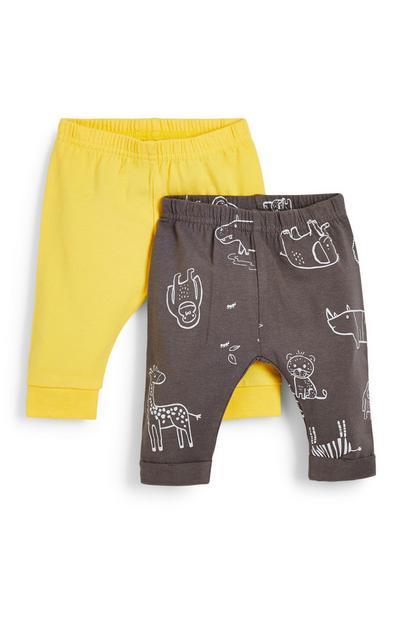 Lot de 2 leggings jaune et anthracite bébé garçon