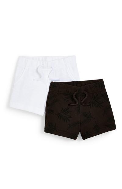 Pack de 2 pantalones cortos negro y blanco para bebé niño