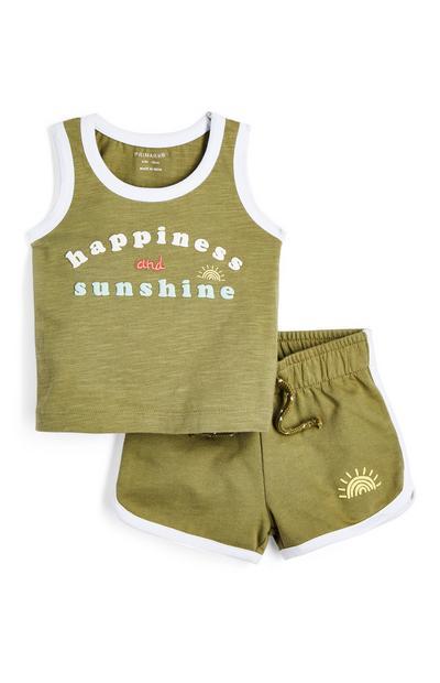 Kaki fantovski komplet majice brez rokavov in kratkih hlač iz džersija za dojenčke