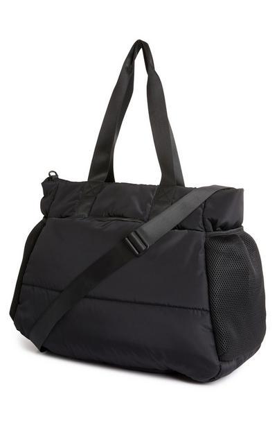 Black Active Nylon Gym Shopper Bag