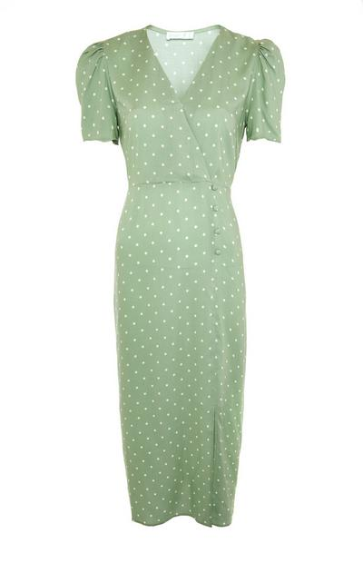 Green Polka Dot Wrap Midi Dress