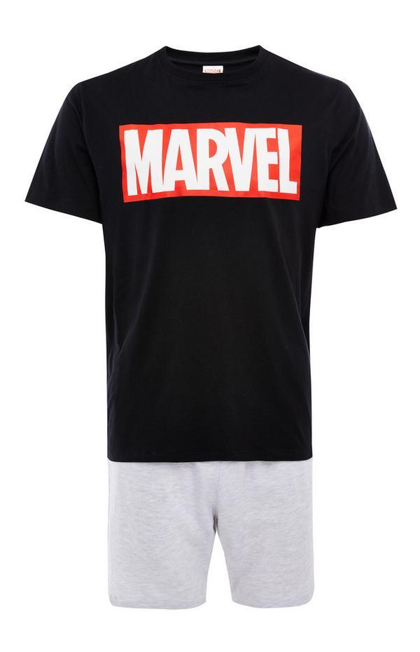 Black And Grey Marvel Logo Short Pyjamas Set