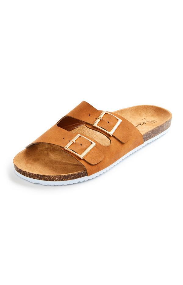 Lichtbruine slippers met voetbed en twee banden