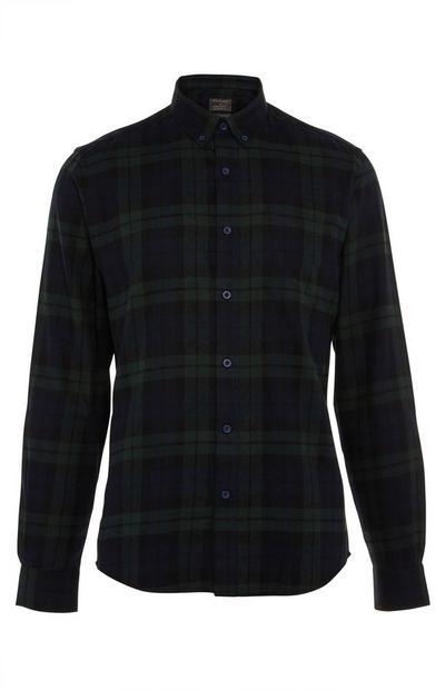 Chemise en flanelle noire et verte à carreaux