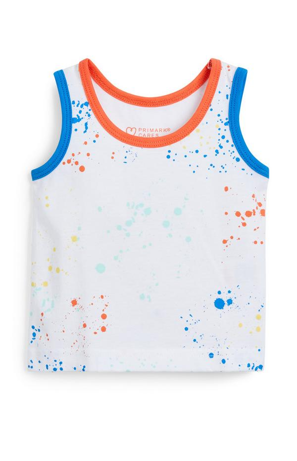 Baby Boy White Colour Paint Splat Vest Top