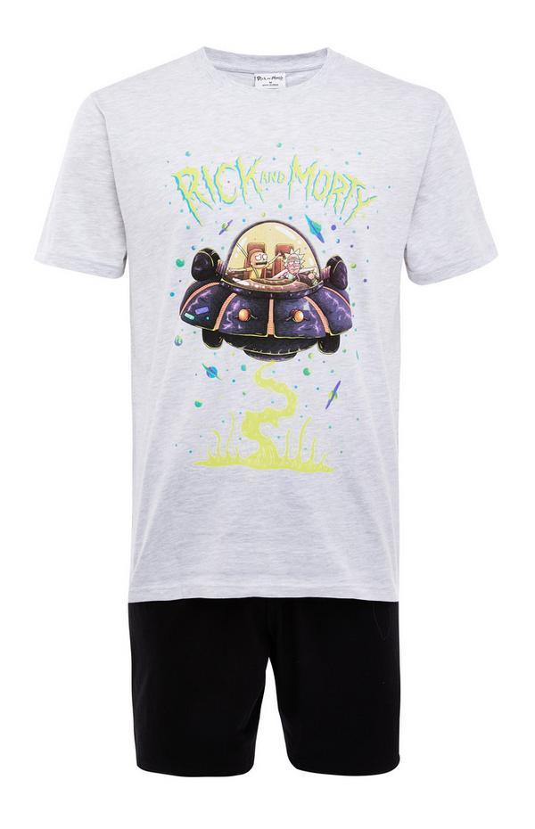 Pyjama Rick and Morty monochrome avec short