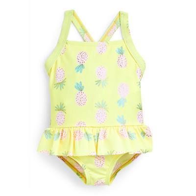 Baby Girl Yellow Pineapple Print Swimsuit