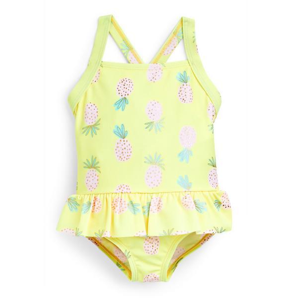Geel babybadpak met ananasprint voor meisjes