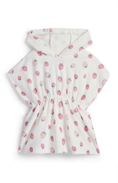 Caftan blanc à capuche avec imprimé fraises bébé fille