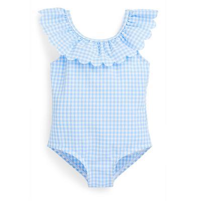 Baby Girl Blue Seersucker Swimsuit